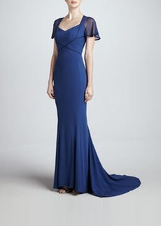 Zac Posen Flutter-Sleeve Crepe Back Satin Gown