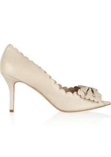 Oscar de la Renta Scalloped bow-embellished leather pumps