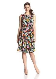 Jones New York Women's Pleated Boat-Neck Dress
