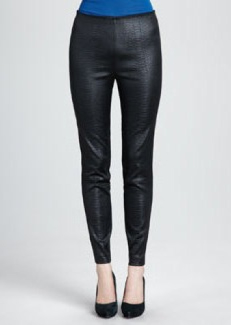 Catherine Malandrino Crocodile-Embossed Ponte Leggings