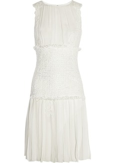 Oscar de la Renta Embroidered chiffon and bouclé dress