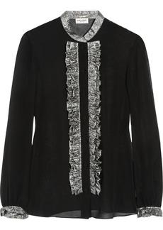 Saint Laurent Lamé-ruffled silk-chiffon blouse