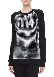 Jason Wu Birdseye Crochet-Knit Pullover Sweater