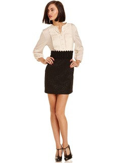 kensie Dress, Long-Sleeve Split-Neck Lace
