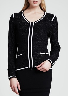 Escada Sparkle-Tweed Jacket, Black/White