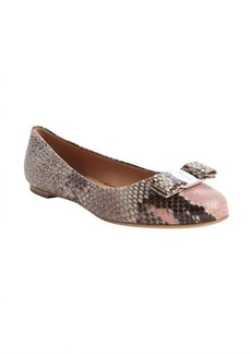 Salvatore Ferragamo pink multi embossed leather bow tie detail 'Varina' flats