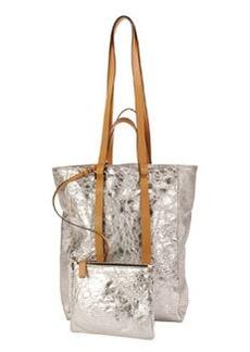 Tokyo Crinkled Metallic North-South Tote Bag   Tokyo Crinkled Metallic North-South Tote Bag
