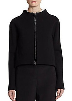 Lafayette 148 New York Leather-Trim Wool Contrast Stripe Jacket