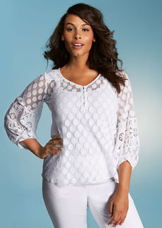 Alfani Plus Size Long-Sleeve Dot-Lace Peasant Top