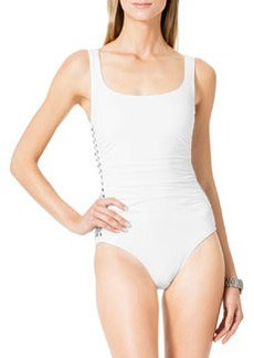 MICHAEL Michael Kors Stud-Side Shirred Maillot