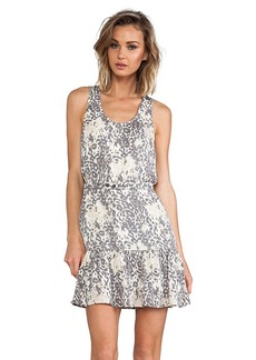 Joie Ori D Leopard Print Silk Dress in Gray