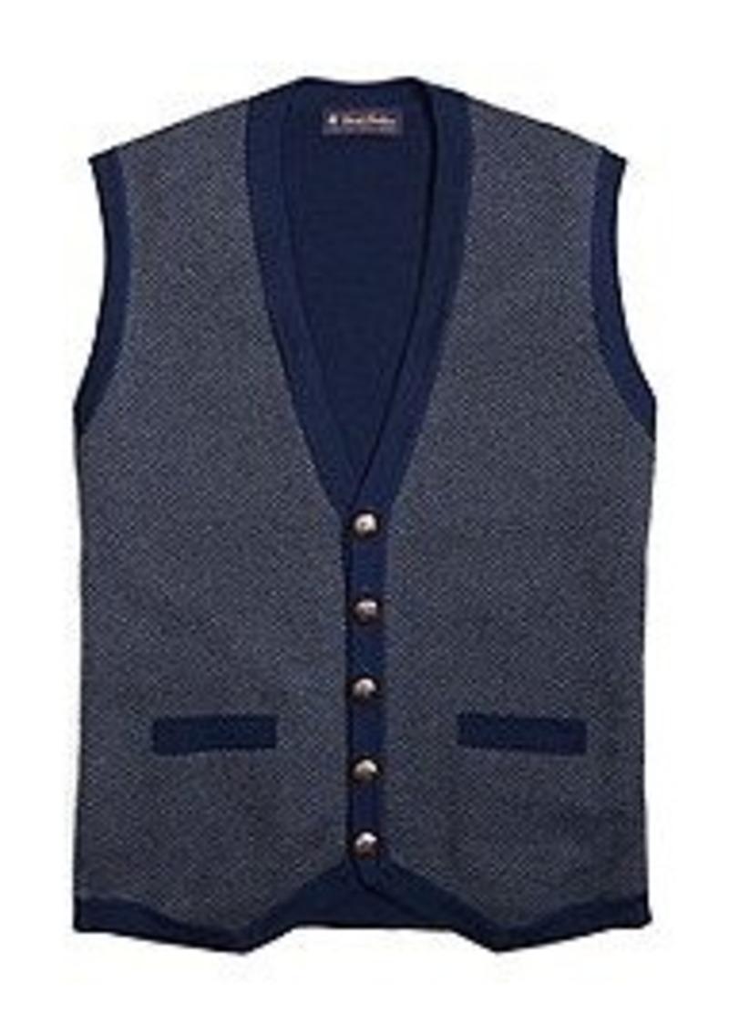 Brooks Brothers Merino Herringbone Button Down Vest
