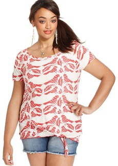 Lucky Brand Plus Size Bird-Print Tie-Front Top
