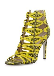Jason Wu Strappy Snake-Print Leather Sandal, Citron