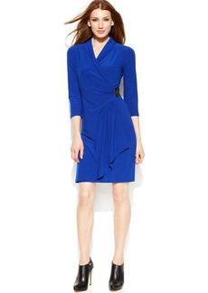 Alfani Three-Quarter-Sleeve Faux-Wrap Dress