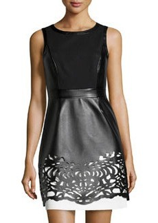 Laundry by Shelli Segal Colorblock Laser-Cut Faux-Leather Dress, Black/White