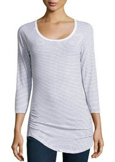 James Perse Long-Sleeve Striped Knit Tee, White