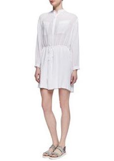 Drawstring-Waist Easy Shirtdress, White   Drawstring-Waist Easy Shirtdress, White