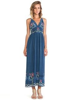 Anna Sui Serpentine Border Print Maxi Dress in Slate
