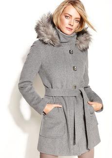 Calvin Klein Petite Wool-Blend Hooded Tie-Waist Coat