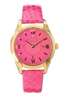 Versace Snakeskin-Strap Bracelet Watch, Neon Pink