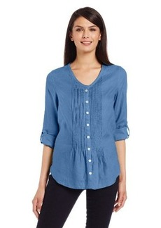 Jones New York Women's Tab Sleeve Pintuck Shirt