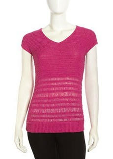 Lafayette 148 New York Sleeveless Mix-Knit Sweater, Camellia