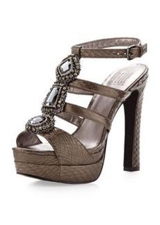 Pelle Moda Juneau Bejeweled Sandal, Pewter