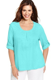 Charter Club Plus Size Linen Roll-Tab-Sleeve Top