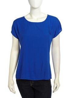Max Studio Cap-Sleeve Back Buttoned Top, International Blue
