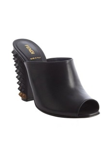 Fendi black leather spiked heel peep toe pumps