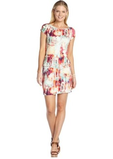 A.B.S. by Allen Schwartz red printed stretch cap sleeve dress