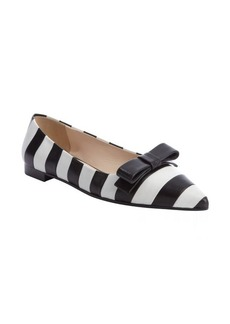 Prada black and white striped leather bow detail flats