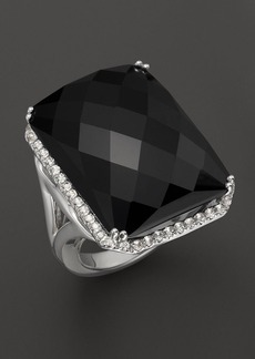 Badgley Mischka Octagon Black Onyx and White Topaz Ring