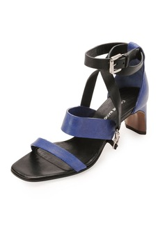 CoSTUME NATIONAL Lambskin Claw Ankle-Wrap Sandal, Black/Blue