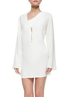 Asymmetric Front-Zip Coverup   Asymmetric Front-Zip Coverup
