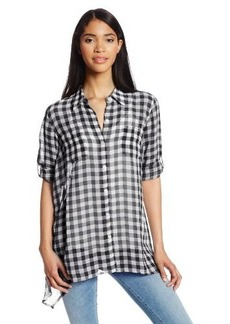 Jones New York Women's A Line Roll Sleeve Shirt