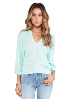 Michael Stars Long Sleeve Voile Mix Split Neck Top in Teal