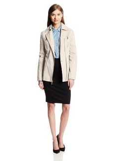 Kenneth Cole New York Women's Asymmetrical-Zip Belted Cotton Jacket