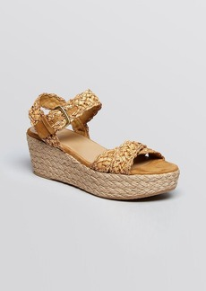 Stuart Weitzman Open Toe Platform Wedge Espadrille Sandals - Oncross