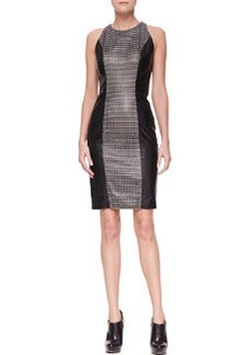 Versace Leather Dress with Woven Center Panel