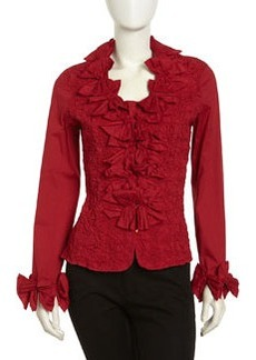 Go Silk Crinkled Stretch-Knit Bow-Ruffle Blouse, Red