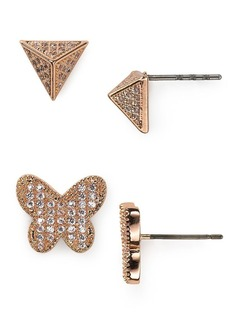 ABS by Allen Schwartz Modern Pave Butterfly Stud Earrings Duo