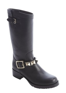 Valentino black leather stud detail strap boots