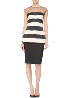 Lela Rose Striped Illusion-Neck Peplum Dress
