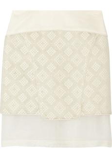 Tibi Silk-crepe, organza and jacquard skirt