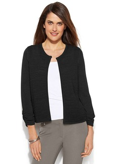 Alfani Petite Three-Quarter-Sleeve Textured Cardigan
