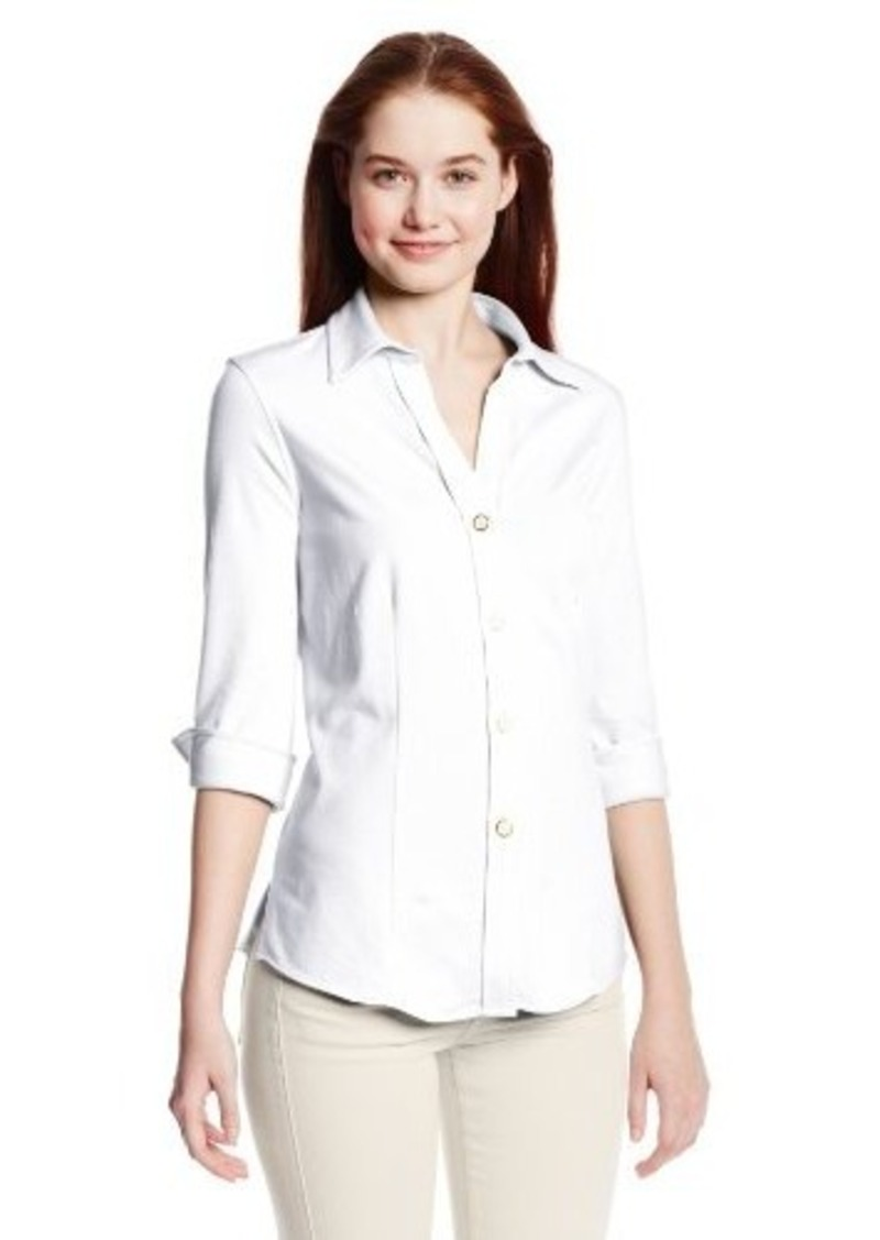 Foxcroft women 39 s solid stretch jersey button down shirt for Womens stretch button down shirt