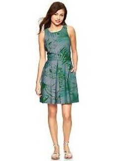 Palm print denim dress