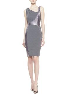 David Meister Sleeveless Metallic Swirl Dress, Gray/Silver